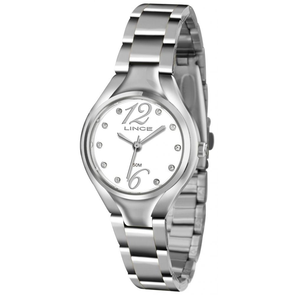 9465bbd46cc Relógio Lince Pequeno Feminino Aço Visor Branco LRMJ057L - VEZATTO