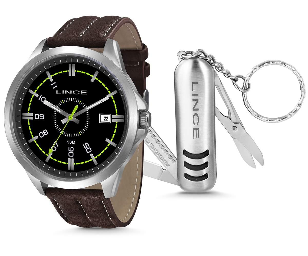 5e6d7f06d62 Relógio Lince Masculino Aço Prata Visor Preto Pulseira Couro MRC4363S KT43+  Brinde