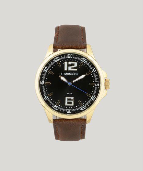 bd956b8b46534 Relógio Mondaine Dourado Pulseira Couro Visor Preto 76672 GPMVDH3 ...