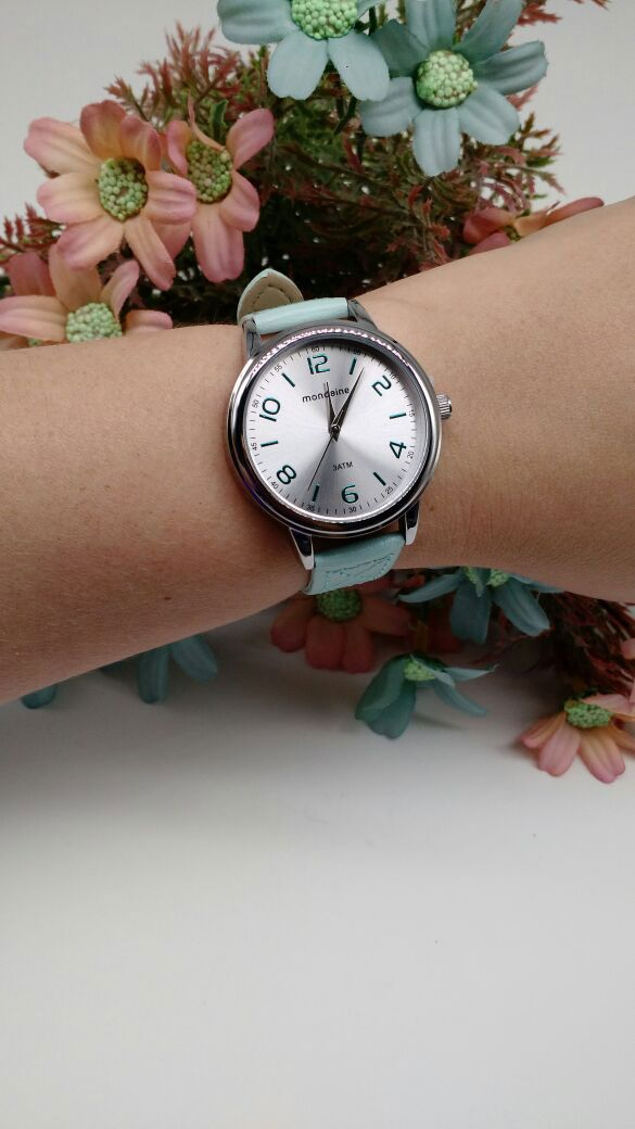 5016c25b843 ... Relógio Mondaine Feminino Pulseira Couro Verde Água 76662 L0MVNH3 ...