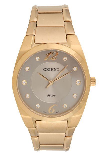 1006cf99245 Relógio Orient Feminino Aço Dourado Visor Cinza com Swarovsky FGSS0075 G2KX