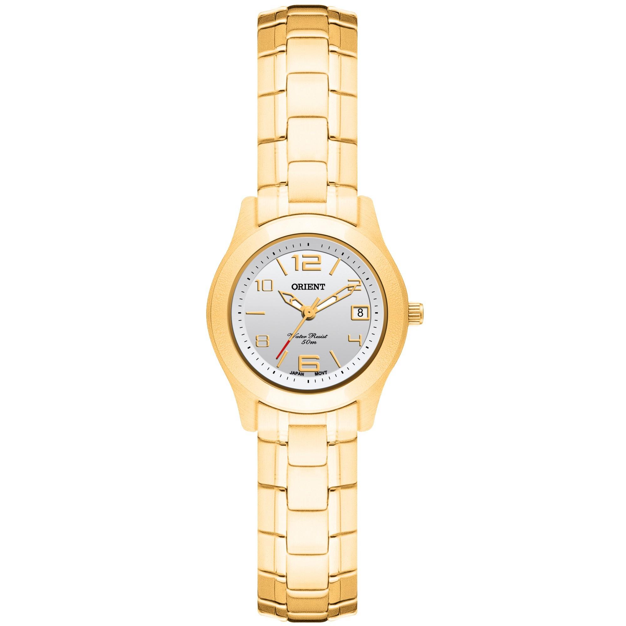 13516e338e8 Relógio Orient Feminino Pequeno Aço Dourado FGSS1025 S2KX - VEZATTO