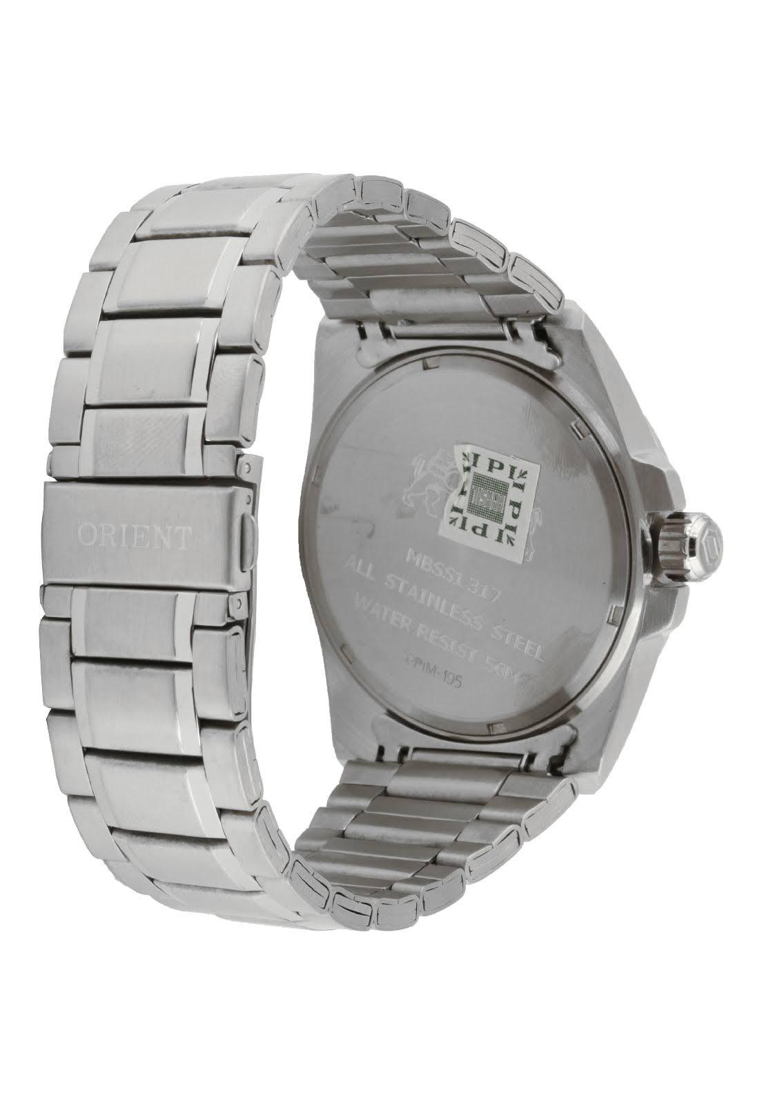639fc492198 ... Relógio Orient Masculino Aço Prata Visor Grafite Azul MBSS1317 GASX ...