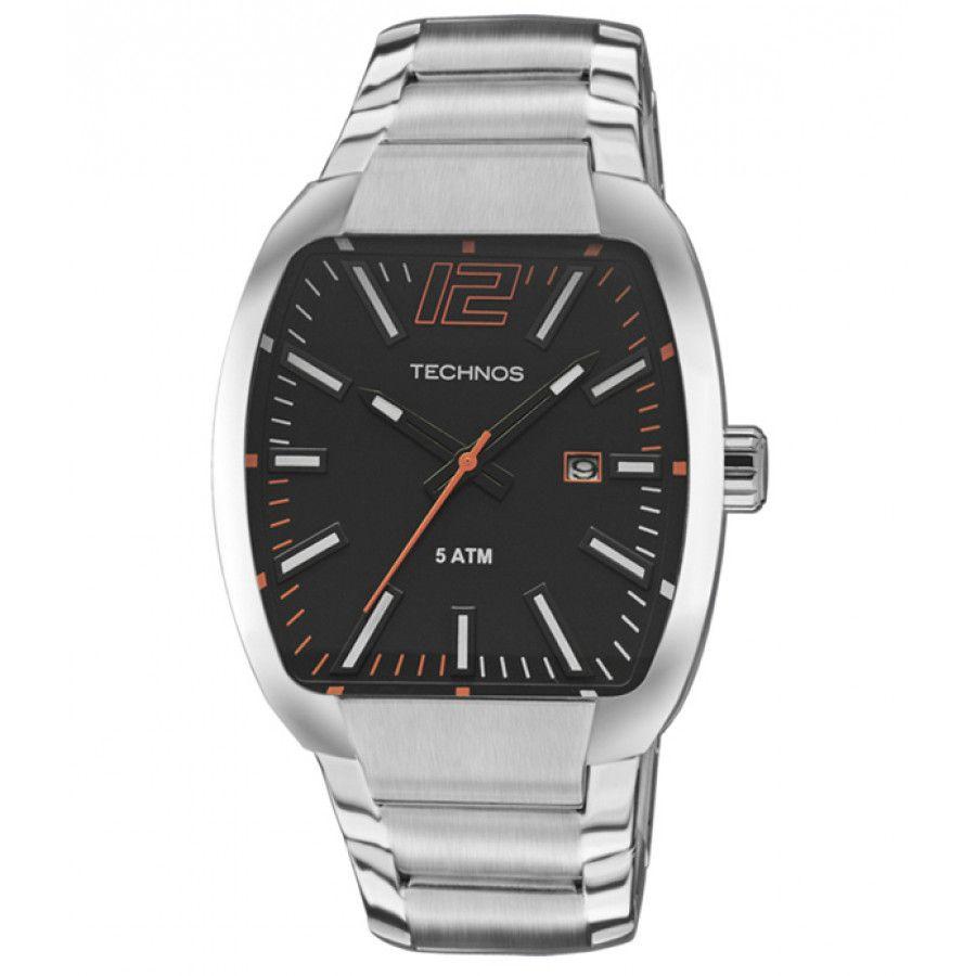 ccd3a1d4f7d Relógio Technos Masculino Quadrado Aço Prata Visor Preto 2115KLH 1P ...
