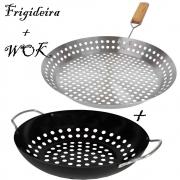 Panela Frigideira Inox + Wok Antiderrapante Churrasqueira Defumar Grelhar