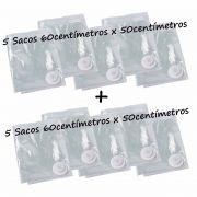 Saco À Vácuo Kit 5 Sacos 60x50cm + 5 Sacos 60x50cm = Super Promoção