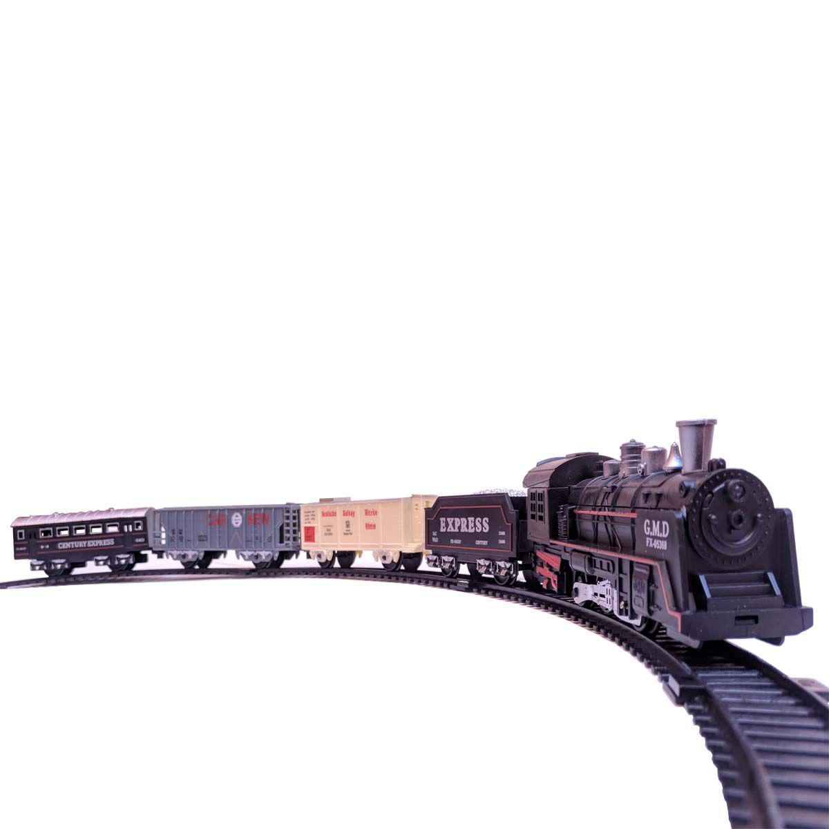 Ferrorama Trem A Pilhas Máquina Locomotiva Pista Som E Luz