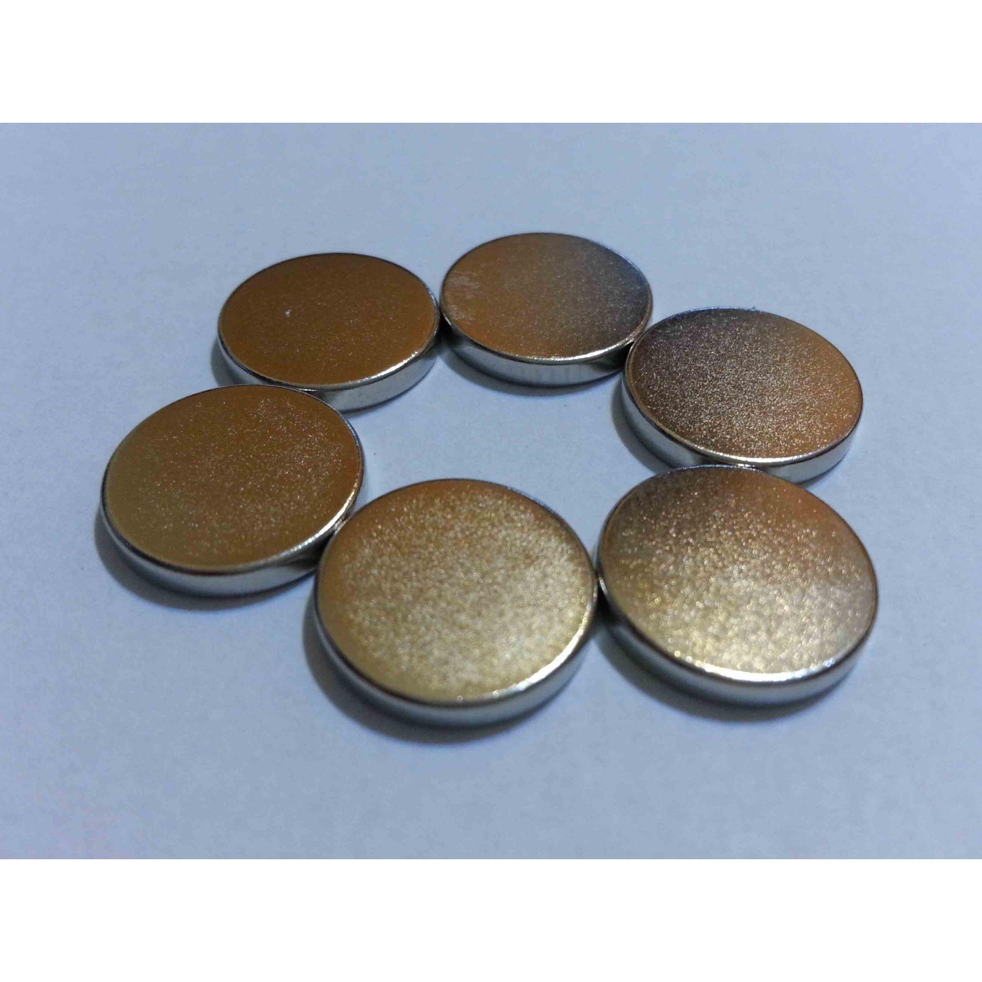 Imã de Neodímio 12,5mm x 2mm - kit com 10peças