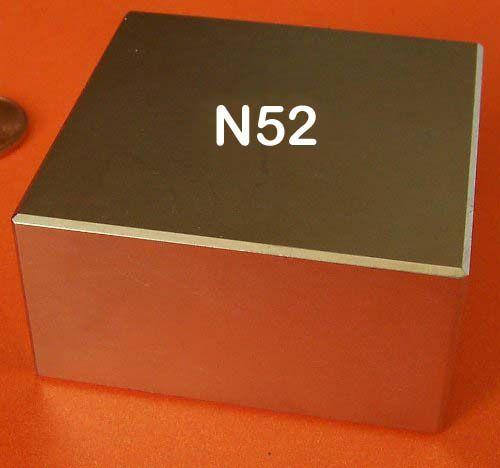 Imã De Neodímio N52 Super Forte 50,8mm X 50,8mm X 25,4mm - Blocão