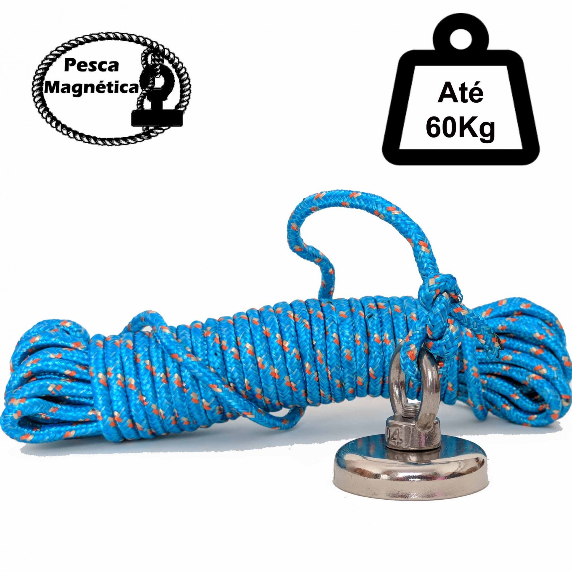 Imã De Neodímio Para Pesca Magnetica Até 60 Kilos De Tração