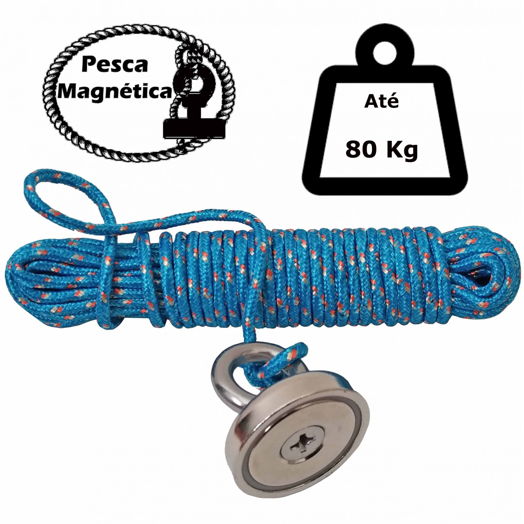 Imã De Neodímio Para Pesca Magnetica Até 80 Kilos De Tração