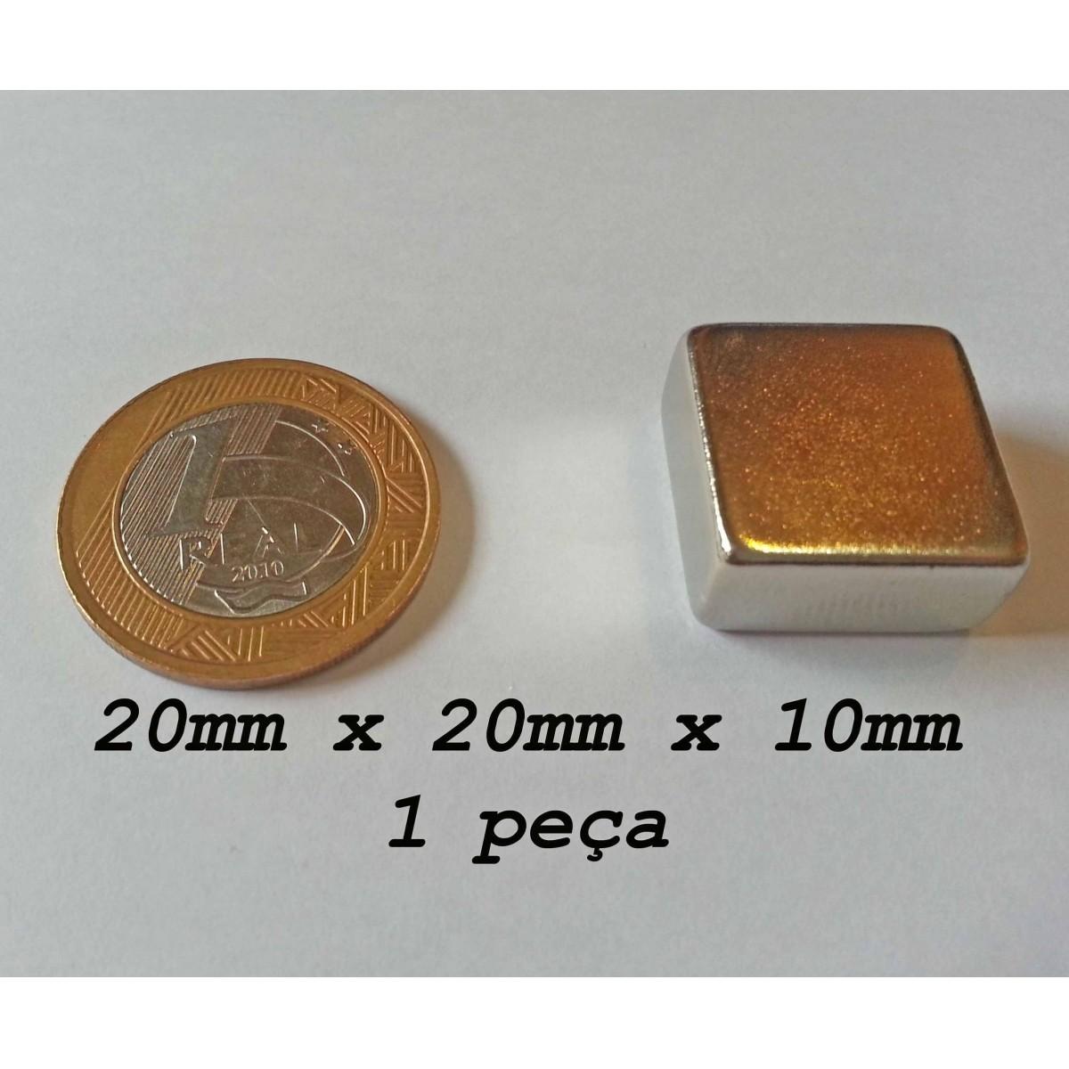 Ima De Neodímio / Super Forte / 20mm X 20mm X 10mm - 1 Peça