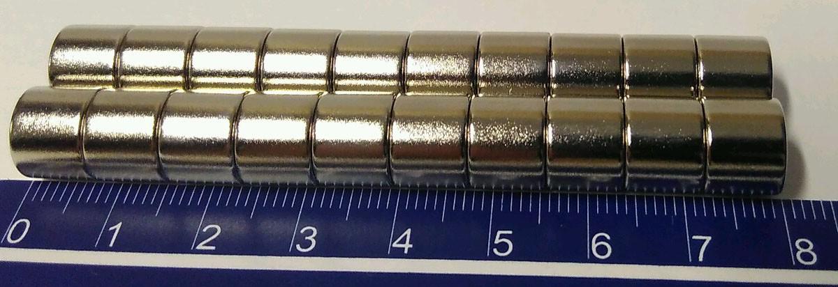 Imãs De Neodímio 10mm X 8mm - 10peças / Super Forte