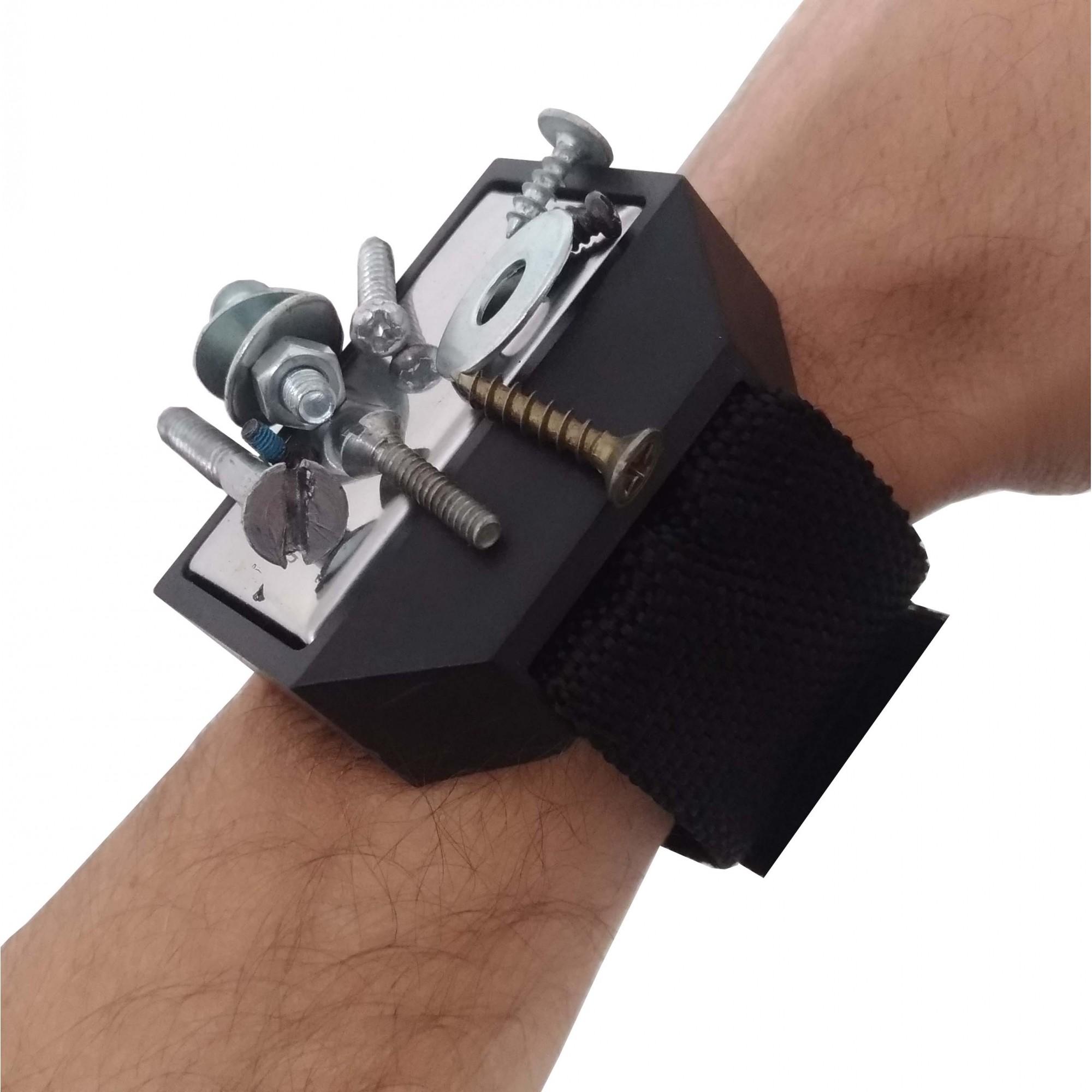 Pulseira Magnética Bracelete Suporte Imã Parafusos Pregos