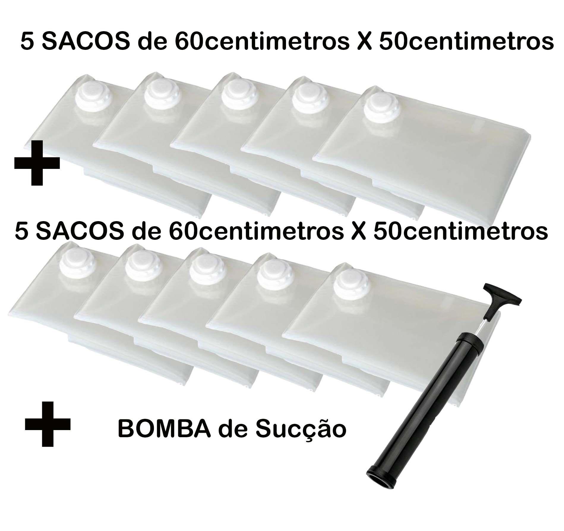 Saco À Vácuo Kit 5 Sacos 60x50cm + 5 Sacos 60x50cm + Bomba = Super Promoção