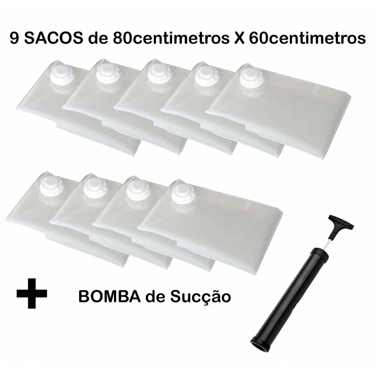 Saco À Vácuo Kit 5 Sacos 80x60cm + 4 Sacos 80x60cm + Bomba