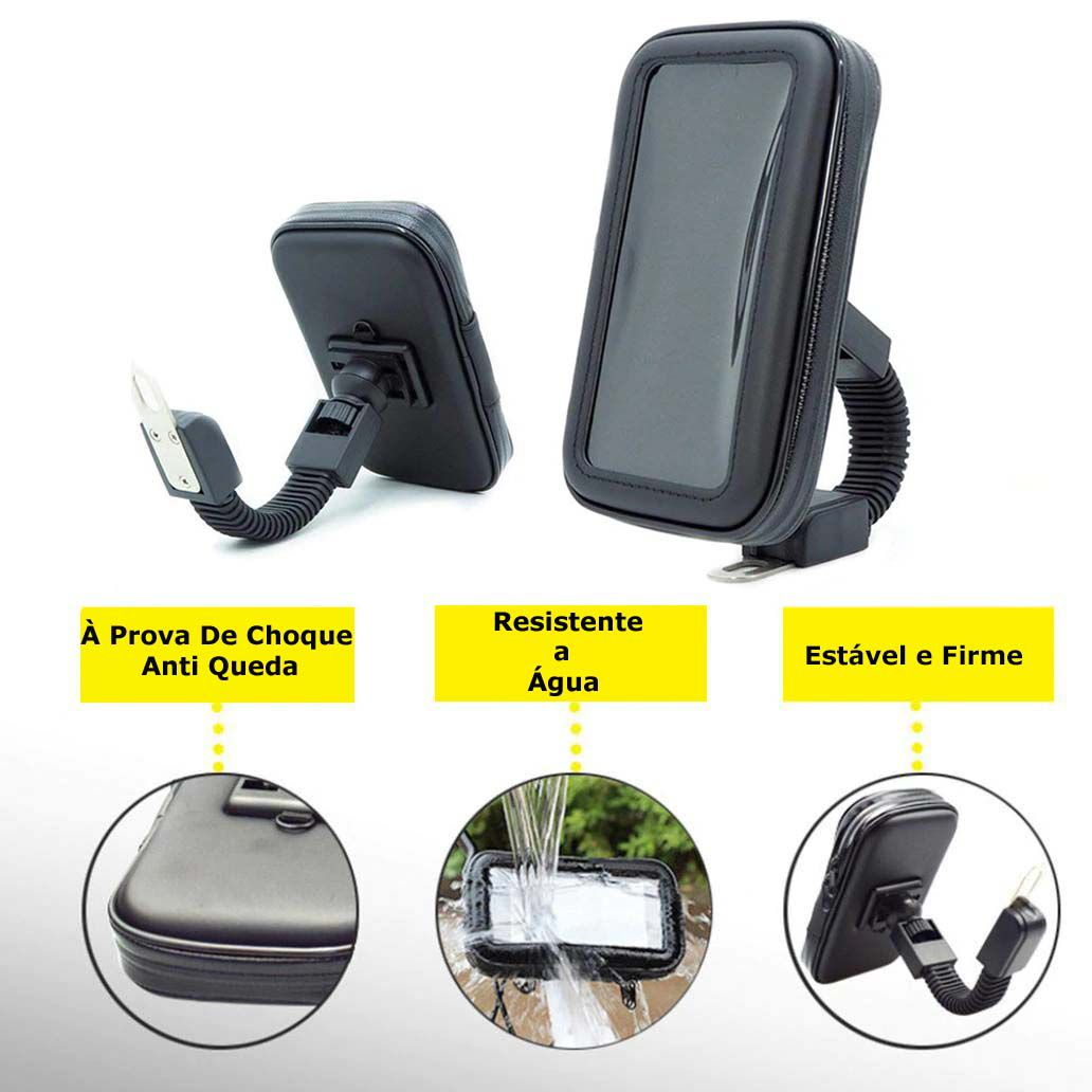 Suporte Smartphone Celular Gps Moto Retrovisor 6,3 Polegadas