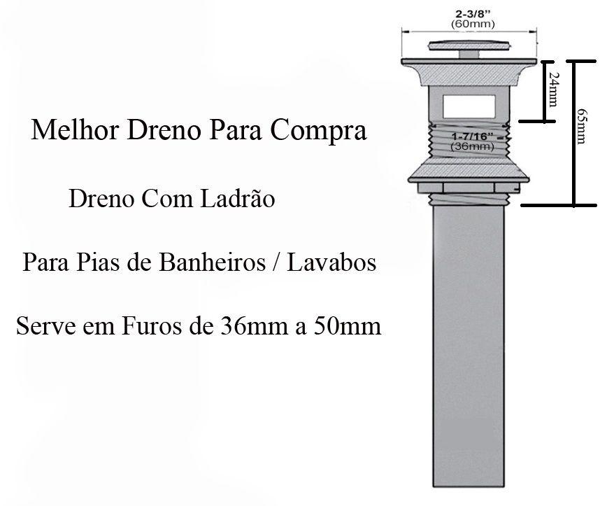 Válvula Click Com Ladrão, Ralo Click Up, Dreno, Tanque, Cuba Banheiro
