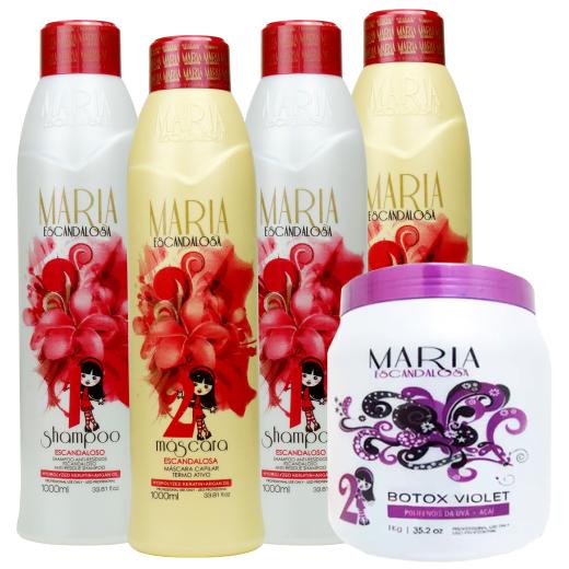 a9c195486 2 Kit Maria Escandalosa Progressiva 1l + Botox Violet 1 kg - Bel Hair  Cosmeticos