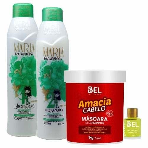 b137f7a0d Kit Progressiva Maria Escandalosa S/formol e Amacia Cabelo- Óleo Argan Bel  - Bel Hair Cosmeticos