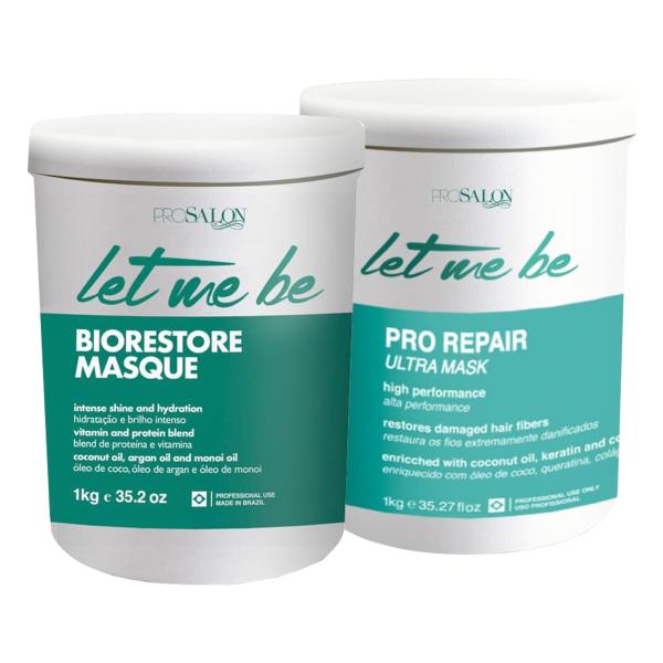 da945b560 Let Me Be Btox Pro Repair Sem Formol 1kg+ Máscara Biorestore Hidratação 1kg  - Bel Hair