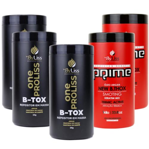 ad1f2f74f Byliss 3 Btox One Proliss 1kg+ 2 Btox Prime Brazilian Keratin 1Kg - Bel Hair  Cosmeticos