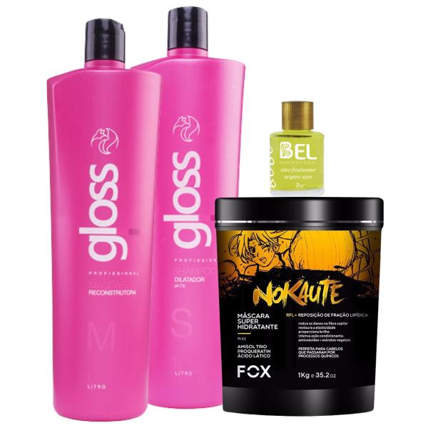 19bf47fe6 Fox Kit Progressiva Gloss+ Máscara Nokaute Hidratante 1kg+ Óleo Argan Bel -  Bel Hair Cosmeticos