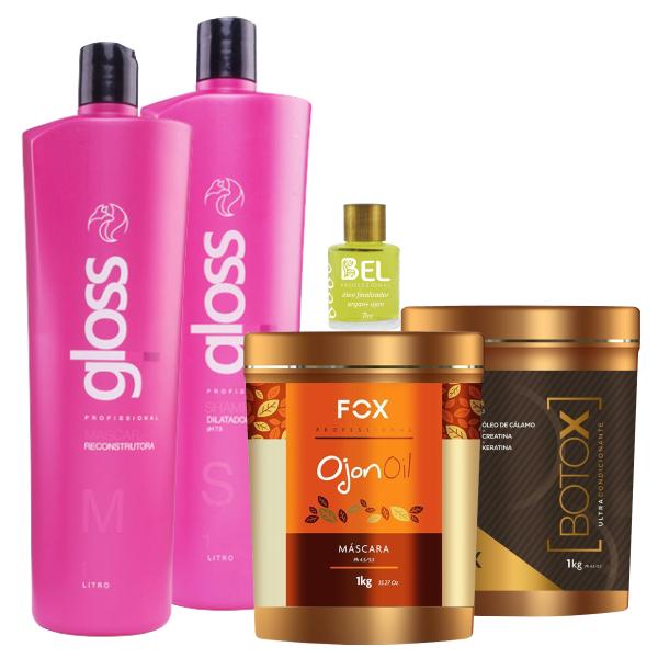 665976eea Fox Kit Progressiva Gloss+ Máscara Ojon 1kg+ Botox 1Kg+ Óleo Argan Bel -  Bel Hair Cosmeticos