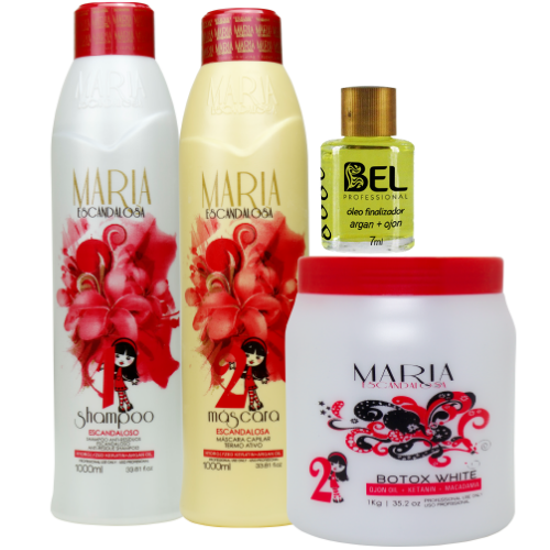 f2ceede29 Kit Maria Escandalosa Escova Progressiva+ Btox White 1kg + Óleo Argan Bel - Bel  Hair Cosmeticos
