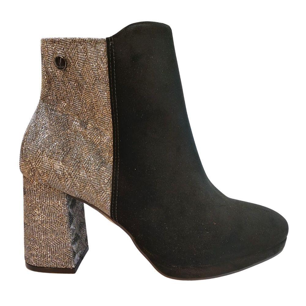 Bota Feminina Vizzano Ankle Boot Salto Medio Prateado