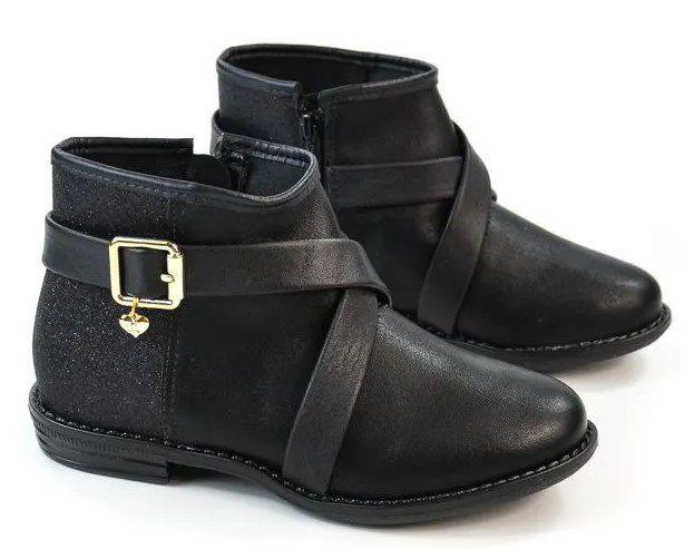 Bota Infatil Menina Ankle Boot Rasteira Cano Baixo Molekinha