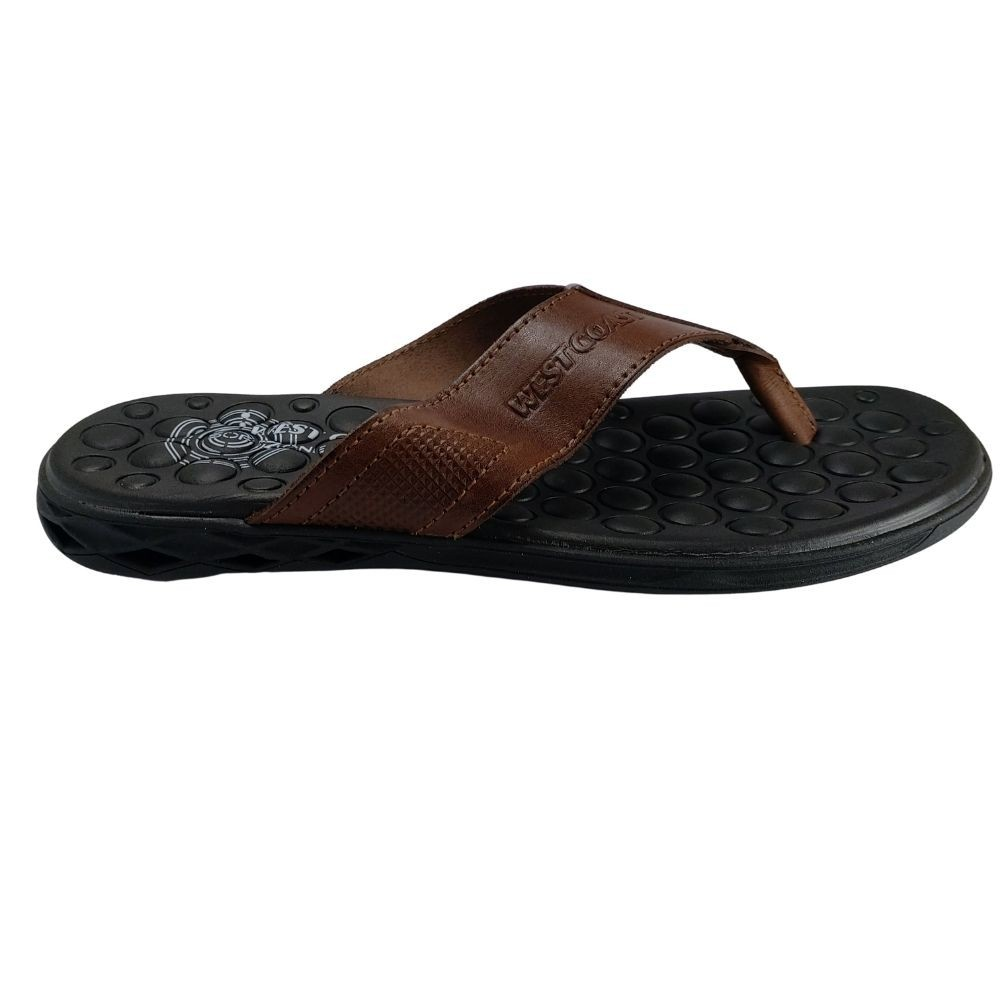Chinelo de Dedo West Coast Block Massageador Couro Legitimo