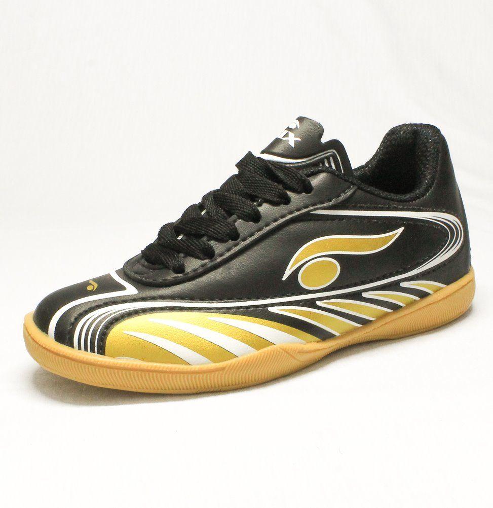 06a656ebd82dc Chuteira Futsal Adulto Indoor Preto Ouro Confortavel Original
