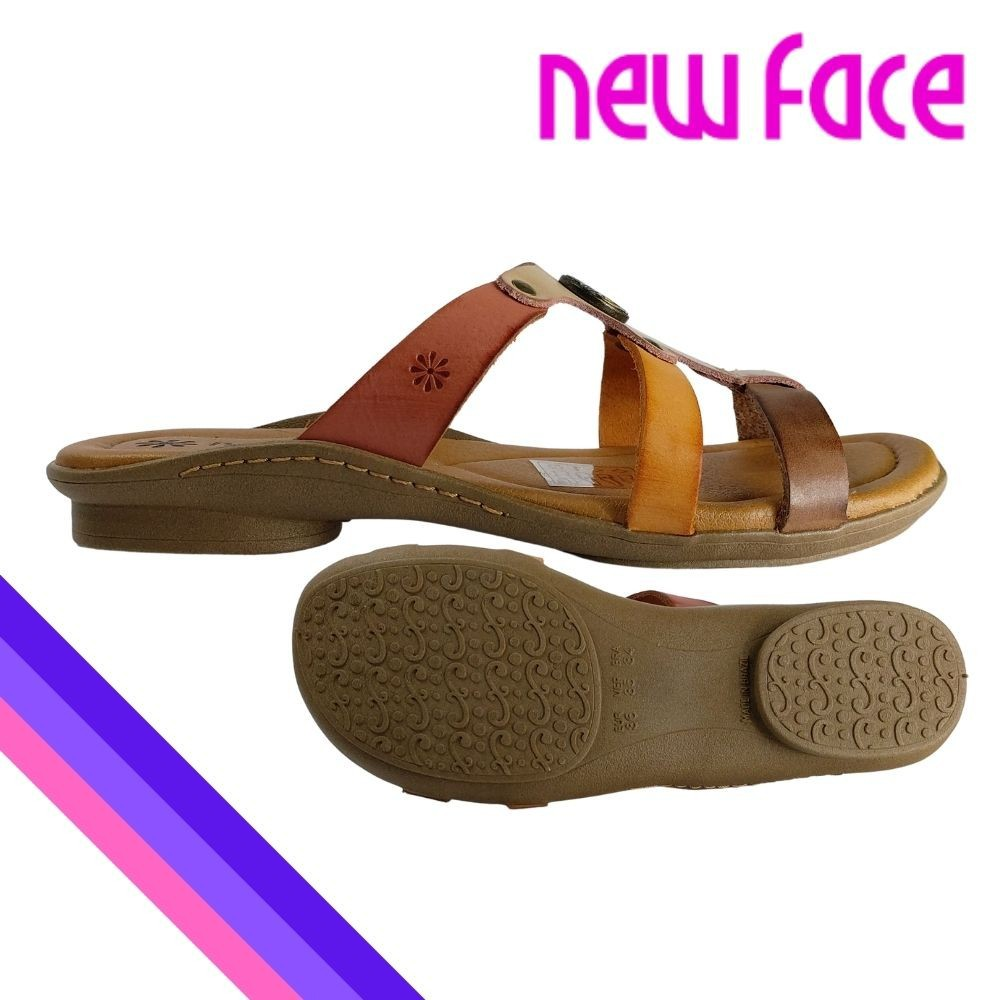 Sandalia Feminina New face Chinelo Couro Original