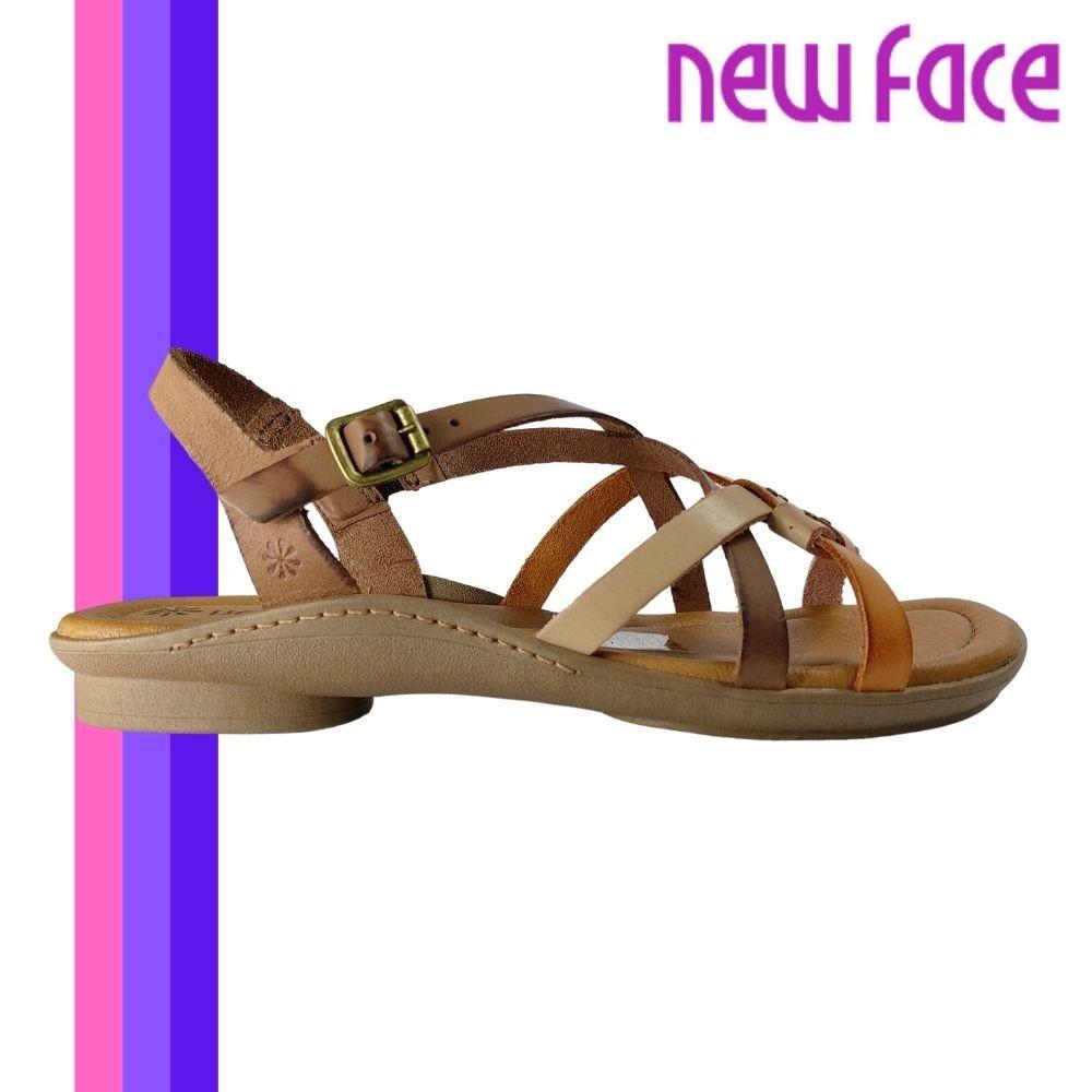 Sandalia Feminina New Face Salto Baixo Couro Original