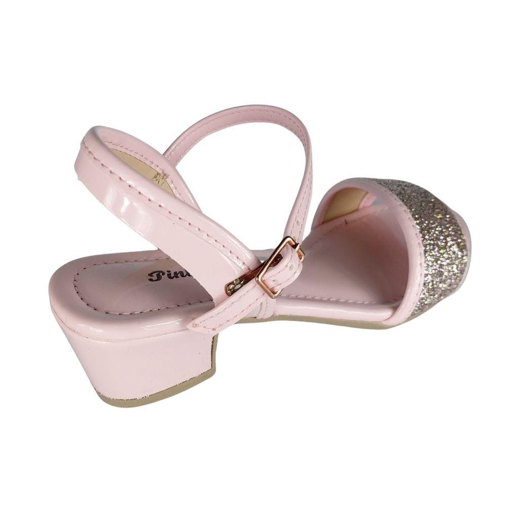 Sandalia Infantil Feminina Pink Cats Delicada Brilhante