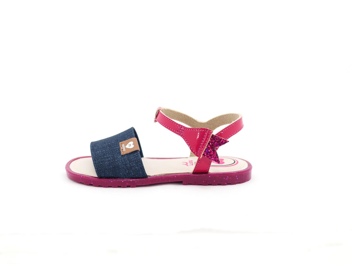 Sandalia Menina Molekinha Confortavel Detalhes Jeans