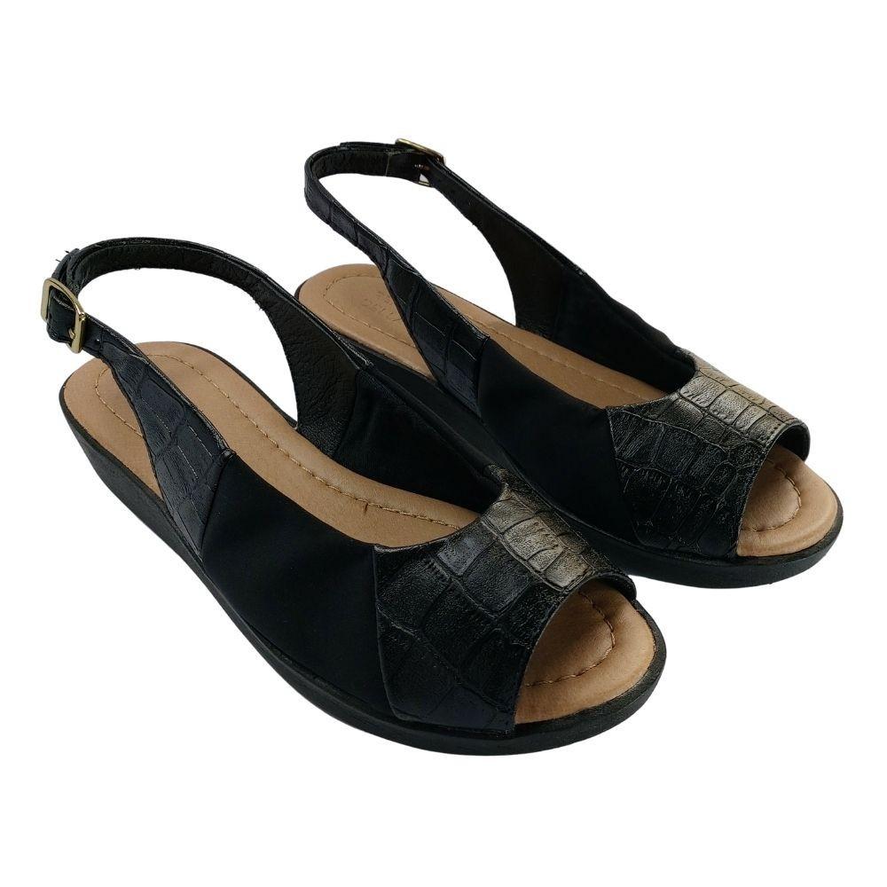Sapato Aberto Feminino Social Salto Anabela Ortopédico