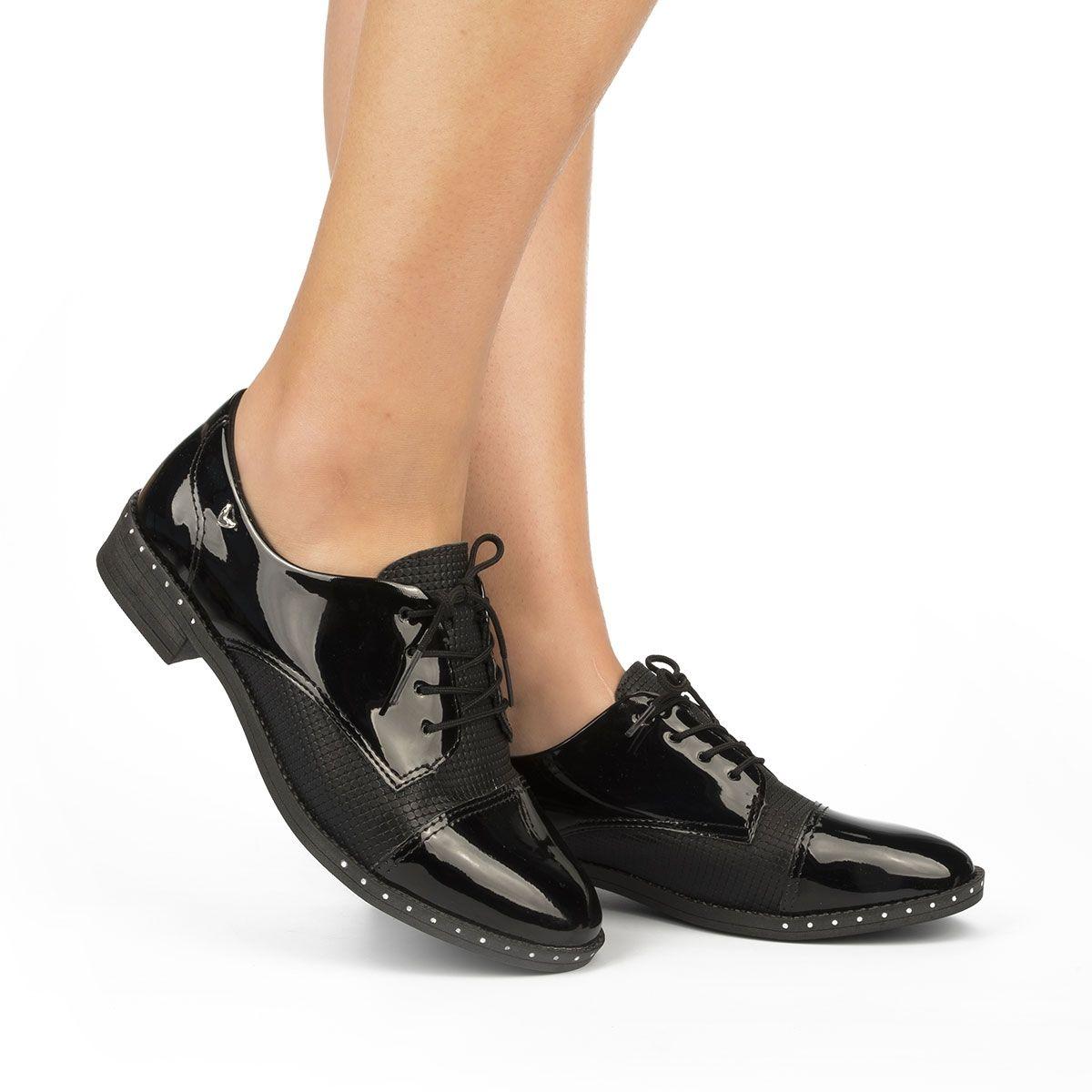 Sapato Feminino Oxford Mississipi Casual Preto Verniz