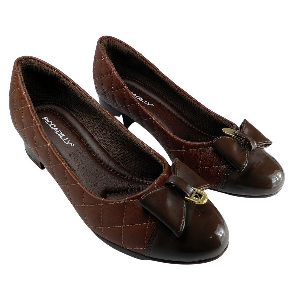 Sapato Feminino Piccadilly Laço Conforto Therapy Salto Baixo