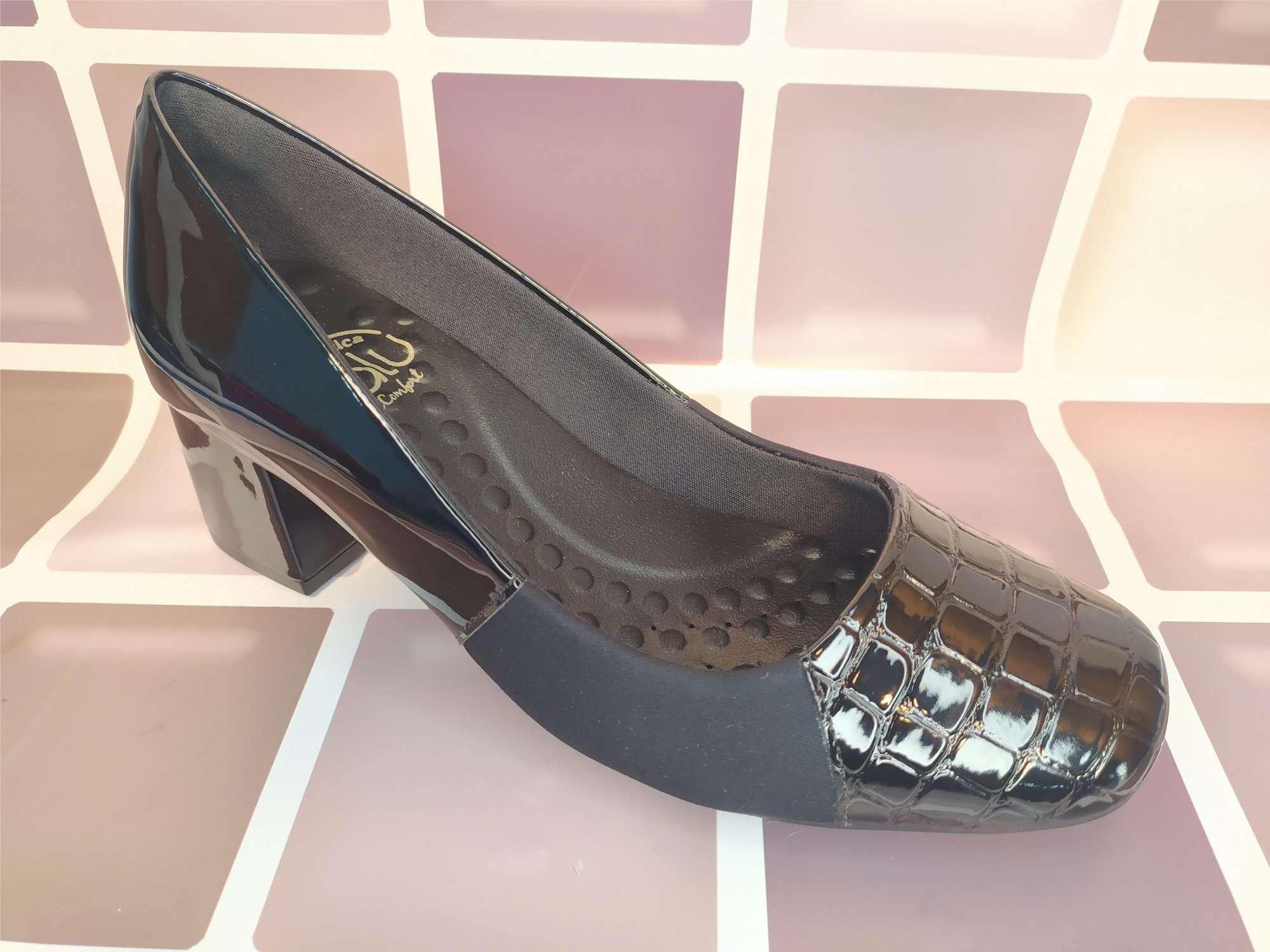 Sapato Salto Medio Quadrado Feminino Terapêutico Malu