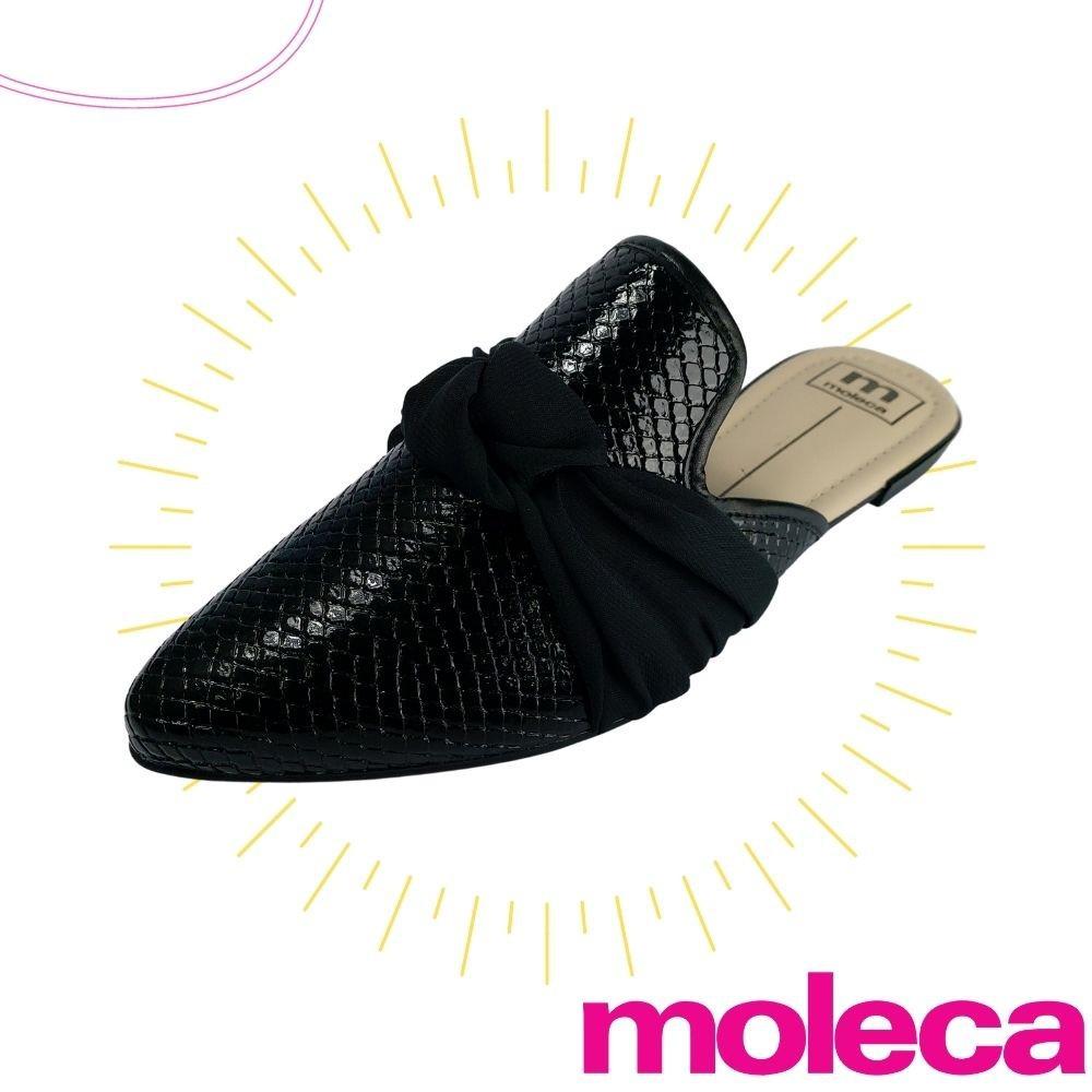 Sapato Mule Moleca Feminino Salto Baixo Preto Rasteirinha