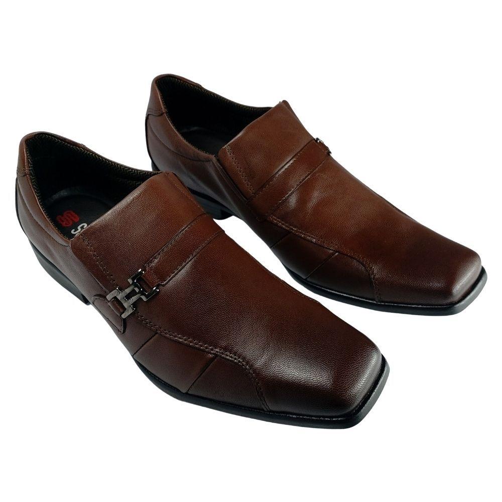 Sapato Social Masculino Marrom Scarpazzi Couro sem Cadarço