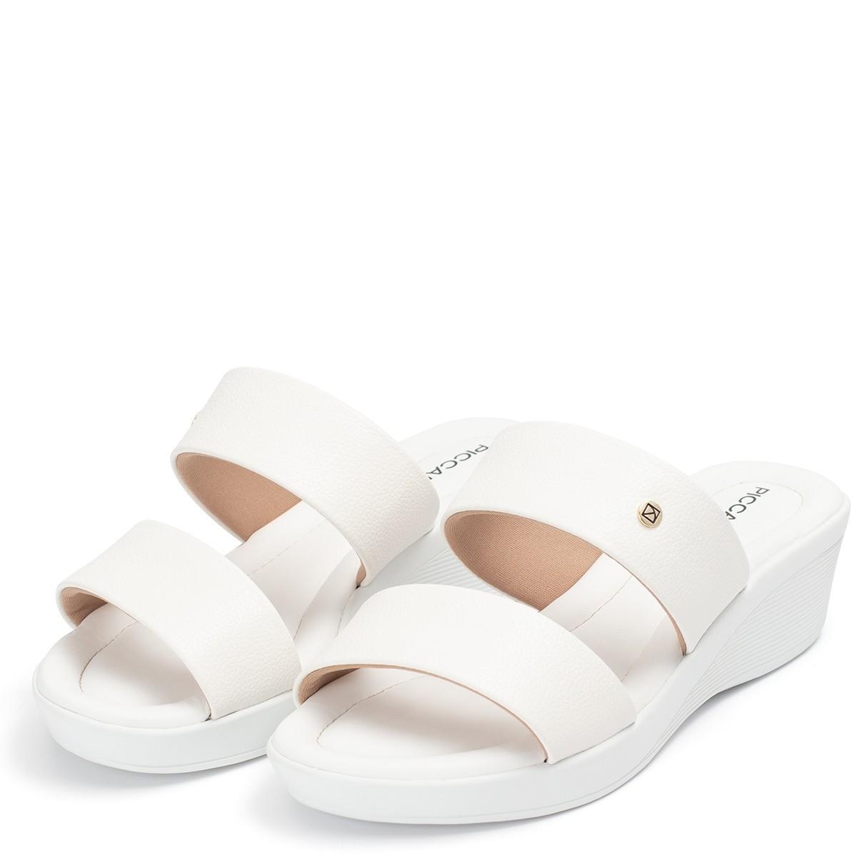 Tamanco Anabela Baixo Feminino Branco Piccadilly Conforto