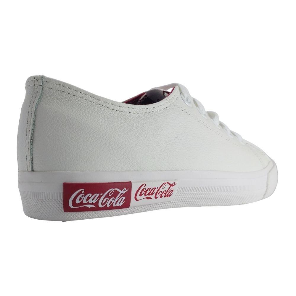 Tenis Coca Cola Blend Canva Couro Branco Feminino Casual