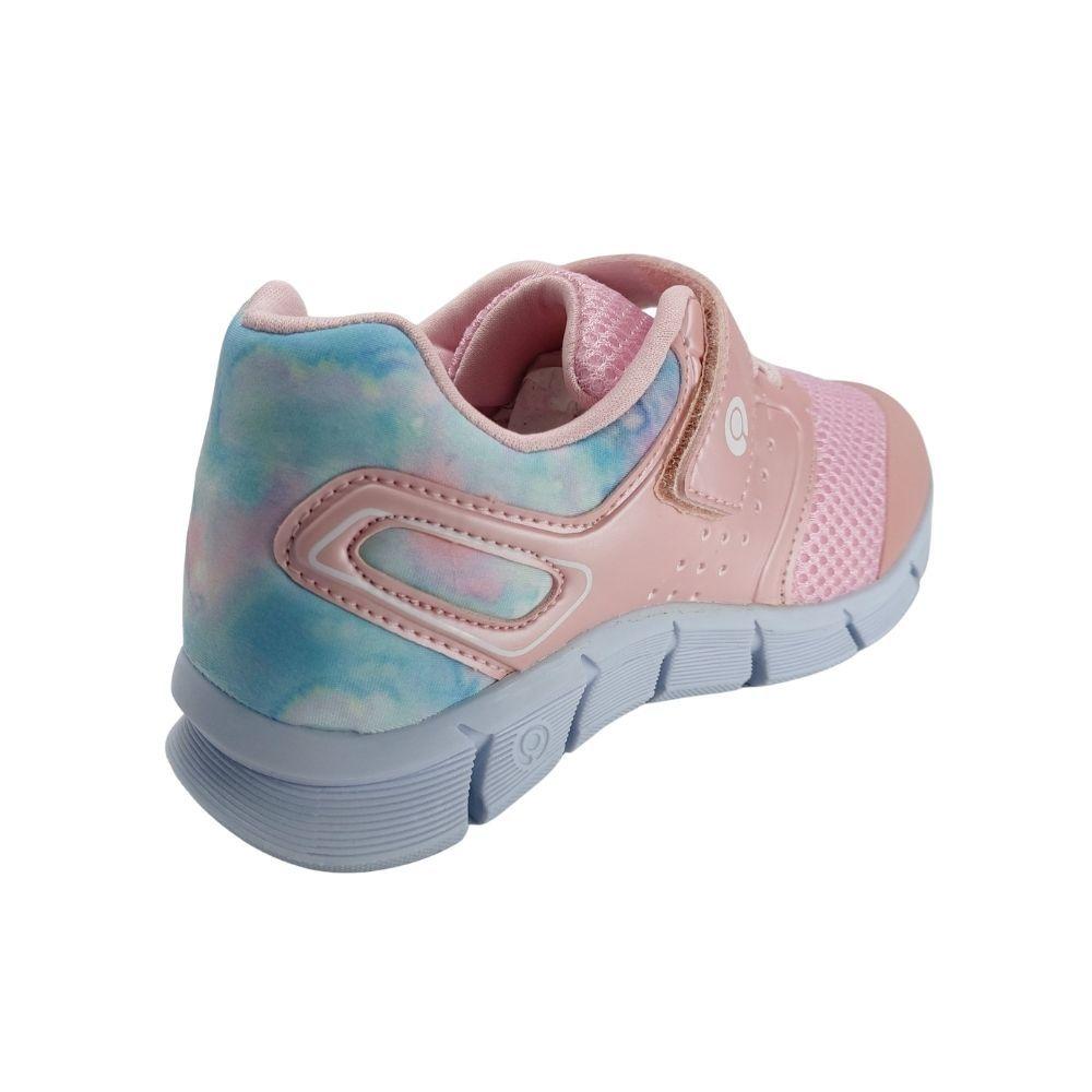 Tenis Infantil Feminino Rosa Tie Dye Com Velcro Casual