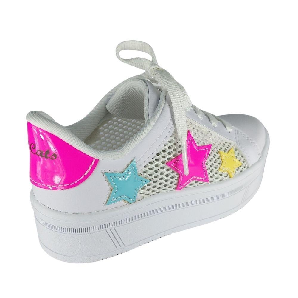 Tenis infantil Menina Casual Pink Cats Star