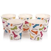 Jogo de copos de papel com estampa de pênis colorido