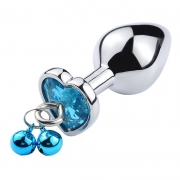 Plug Anal Cristal Coração Sino Corrente G Azul