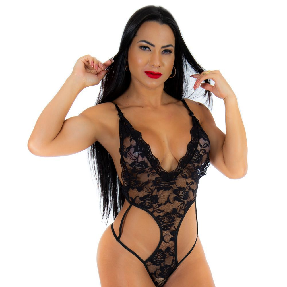 Body Renda Deliciosa P Sexy Preto